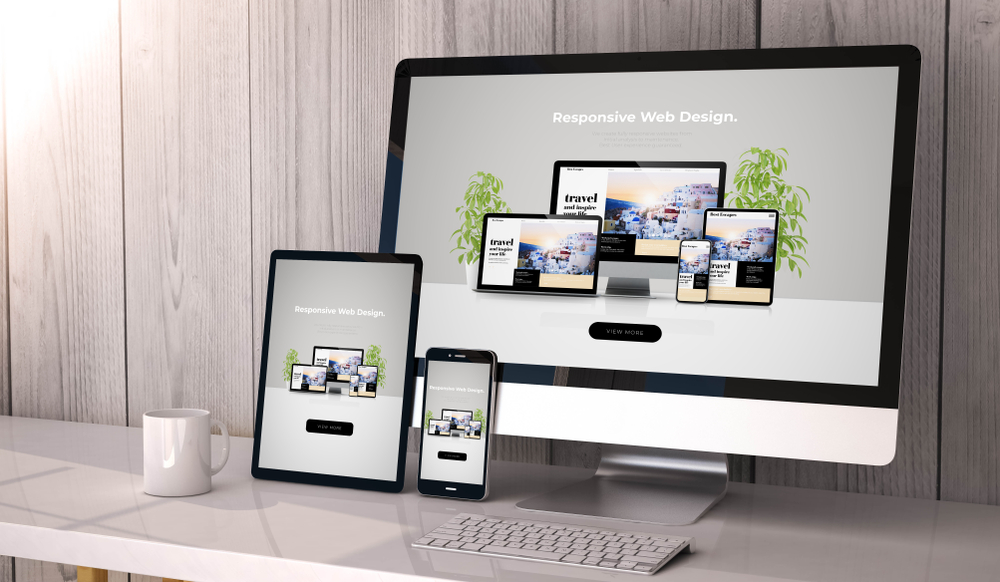 Display of Website that is responsive on mobile, tablet and desktop.